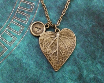 Leaf Necklace Bronze Heart Shaped Leaf Jewelry Personalized Jewelry Brass Necklace Bridesmaid Necklace Girlfriend Necklace Botanist Gift