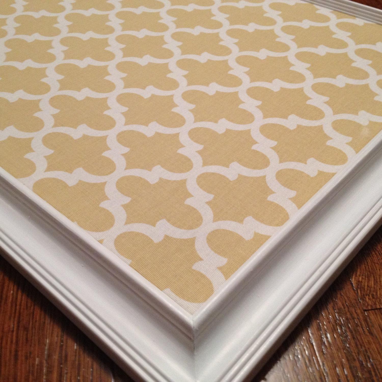 Large 16x20 24x36 framed bulletin board modern mustard saffron for Modern cork board