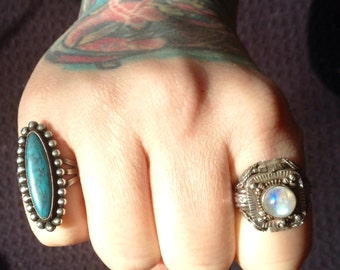 Native American Kingman Turquoise + Sterling Silver Ring Size 7
