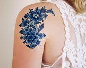 Dutch Delft Blue temporary tattoo / floral temporary tattoo / flower temporary tattoo / boho gift idea / Dutch gift / festival accessoire