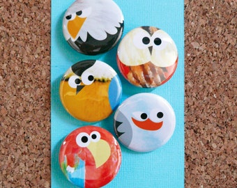 "Set of 5 Animal Badges ""The Birds"" 32mmØ"