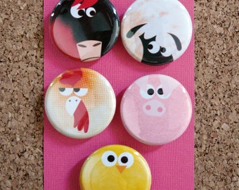 "Set of 5 Animal Badges ""Farm Creatures"" 32mmØ"