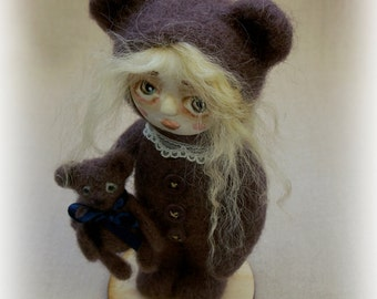 Girl with bear. Felted doll. Needle felted. Paperclay art doll. Art bear. Art doll. Felted bear. Teddy bear. Small dolls. Vintage style.