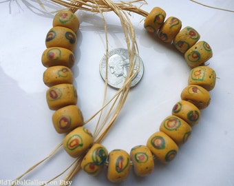 Antique African trade beads  19  buttery yellow beads