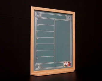 green art deco chalkboard weekly calendar meal planner whiteboard framed chalkboard calendar organizer personalized dry erase planner