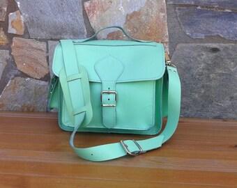 Leather Camera Bag,  DSLR camera bag, Leather shoulder bag, Light Green Camera bag, plus light brown protective insert - LIMITED