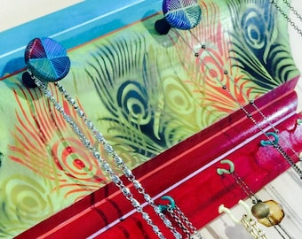 Made to order -Recycled crown molding necklace holder /jewelry organizer wall hanging storage peacock feathers 12 hooks 5 hand-painted knobs
