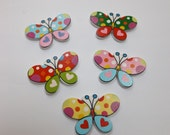 Butterfly buttons, pack of 10 wooden buttons in bright colours, great for crafts, each one 35mm x 25mm