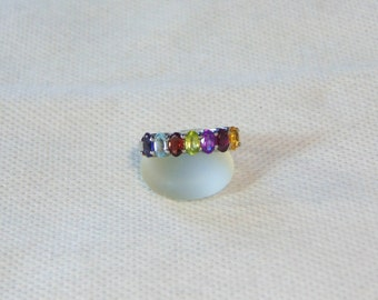 Multi Gemstone Size 6 Sterling Silver Oval Ring