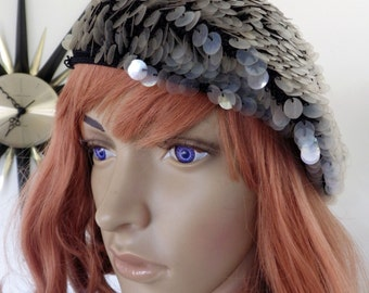 Vintage 1960s tam / beret - sparkly gray Made in Italy - handmade