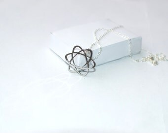 ATOM necklace, science symbol! Sterling silver chain