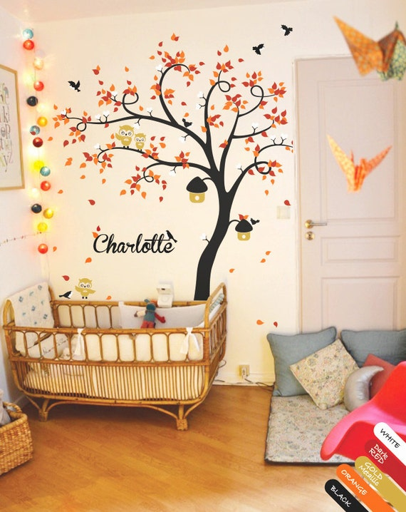 Large tree wall decal with personalized name wall decal with for Baby nursery tree mural