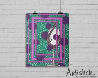 Wine Glass Art - Wine Lover Gift - Teal Purple Art - Modern Kitchen Art - Wine Bar Decor - Cocktail Art Print - Geometric Print - Wine Print