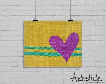 Heart Art Print - Valentines Day Art - Yellow Pink Artwork - Modern Home Decor - Girls Room Art - Lovers Artwork - Colorful Heart Art