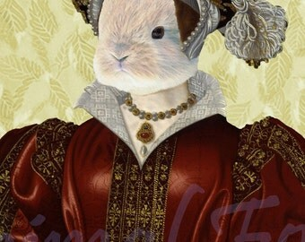 Tudor Rabbit CATHERINE PARR digital art bunny queen anthropomorphic history portrait surreal fantasy fairy tale mixed media collage print