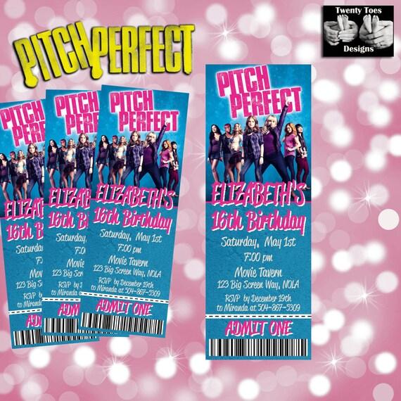 Pitch Perfect 2 Movie Invitation, Movie Ticket, Printable, Movie Party ...
