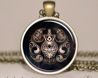 Zodiac Aquarius Necklace, Aquarius Art Pendant with Necklace Chain