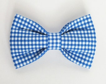 SALE Mini Gingham in Royal fabric bow tie for dog/cat collars, pet bow tie, collar bow tie, wedding bow tie