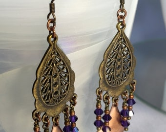 Antiqued Copper Plated Earrings with Purple Velvet Swarovski Crystals.