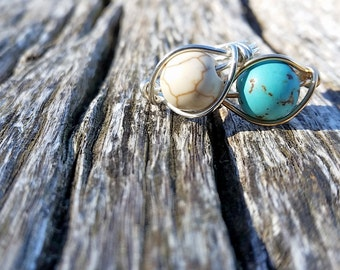 Turquoise Rings, Turquoise Jewelry, Chunky Turquoise Ring, Turquoise, White Turquoise Ring, Turquoise Stone Ring, Turquoise Wire Wrap