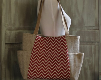Chevron, Red and Khaki: Handbag/Shoulder Bag with Side Pockets