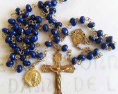 Rosary - Lapis Saint Mary Magdalene Rosary - 24K Gold Vermeil