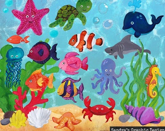 Sea life clipart,  hand painted  images of fish, shark, squid, crab, whale and other sealife, 41 clipart 300 dpi PNG  files (878)