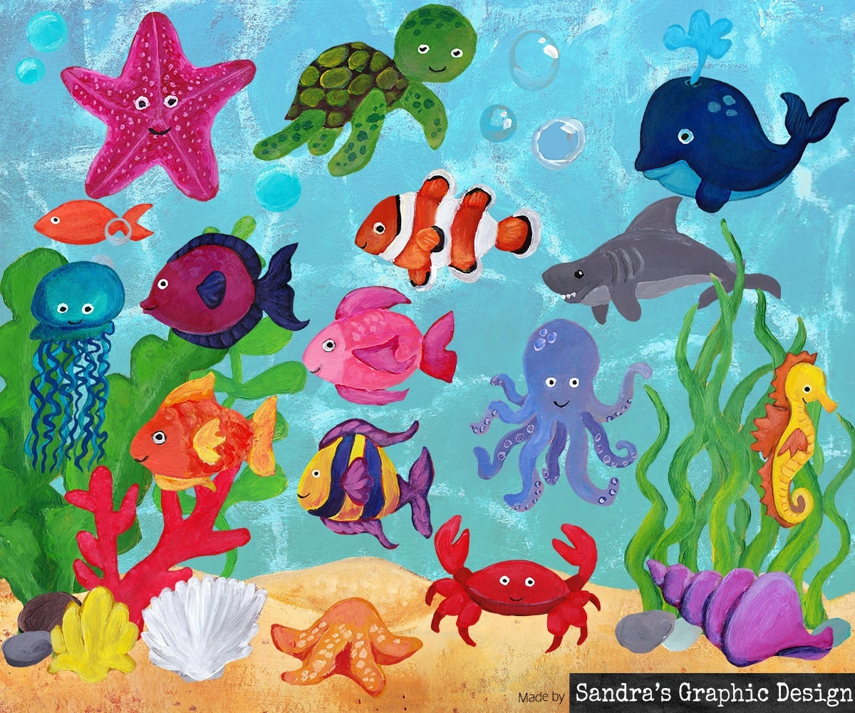 Sea life clipart hand painted images of fish shark squid