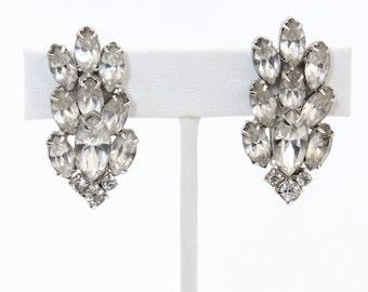 Vintage Wiesner Rhinestone Cluster Clip On Earrings
