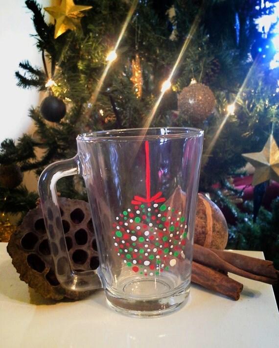 "Cup - Hand painted Glass Coffee Mug, "" Christmas ornament """