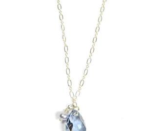 Lisateamo Jewels Sterling Silver Short Necklace Denim Blue