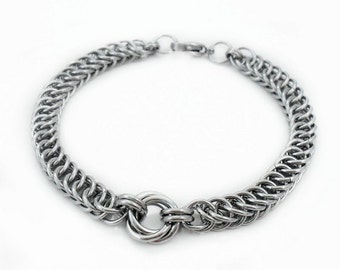Handcrafted Stainless Steel Mobius Knot & Persian Chainmaille Curb Bracelet