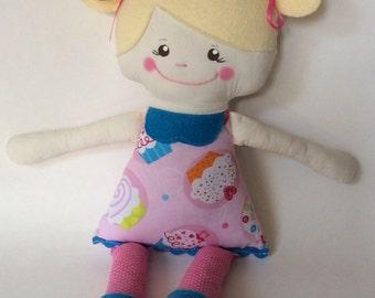 "SALE*Handmade Girl Cloth Doll 15"" Chloe Plush Softie Rag Doll With Pink Cupcake Print Dress and Blond Wool Felt Hair"