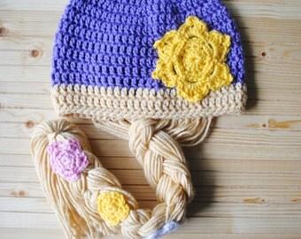 Crochet Princess Hat, Knit Princess Hat, Rapunzel Halloween Costume, Rapunzel Hair Hat, Rapunzel Wig, Rapunzel Hair, Rapunzel Hair Hat