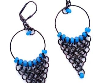 Capri Blue Gunmetal Chainmaille Chandelier Hoop Earrings Beaded Glass Jewelry Antiqued Gray Black Chain Mail Hanan Hall Jewelry Maillewerks