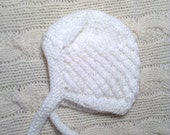 Preemie Baby Bonnet, White Baby First Beanie, Tiny Baby hat with strings, Newborn Knit Hat, Baptism, Holidays, First Newborn Gift