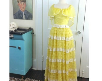 50s Cupcake Dress Yellow Lace Tiered Ruffle XS/S