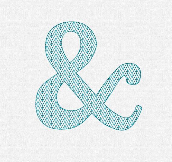 Redwork ampersand machine embroidery design pattern download