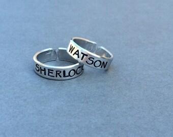 Sherlock and Watson Sherlock Holmes Dr. Watson Best Friends Rings Couples Rings  Stamped Aluminum Ring
