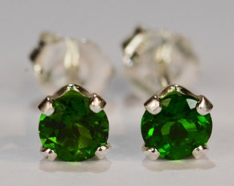 Chrome Diopside Earrings~.925 Sterling Silver Setting~4mm Round~Genuine Natural Mined