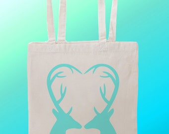 Deer stag heart - Reuseable Shopping Cotton Canvas Tote Bag