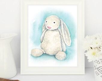 JellyCat Bashful Bunny - Print from original watercolour (un-mounted)