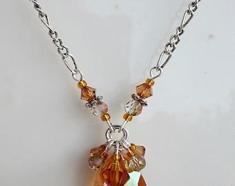 Orange Crystal Pendant, Crystal Jewelry, Large Orange Crystal Necklace, Orange Crystal Jewelry, Large Crystal Pendant, Copper Crystal Drop