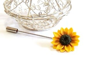Yellow Sunflower Boutonniere, Rustic Groom Buttonhole, Woodland Lapel pin, Groom Boutonniere, Sunflower Brooch