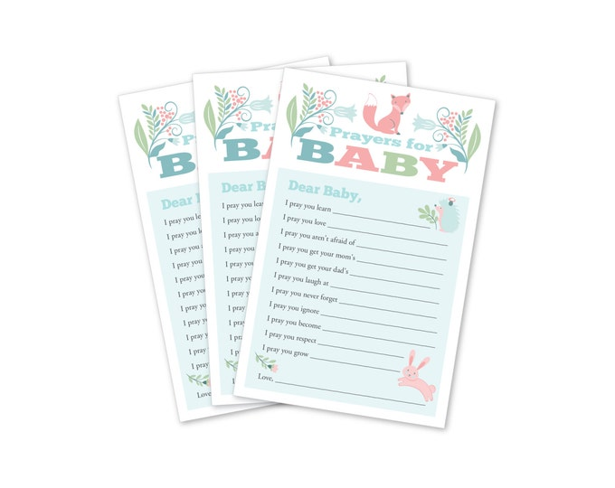 Baby Shower Prayers For Baby - Wishes for Baby Game Printable - Prayers for Baby - Woodland fox and raccoon Baby Shower Instant Download