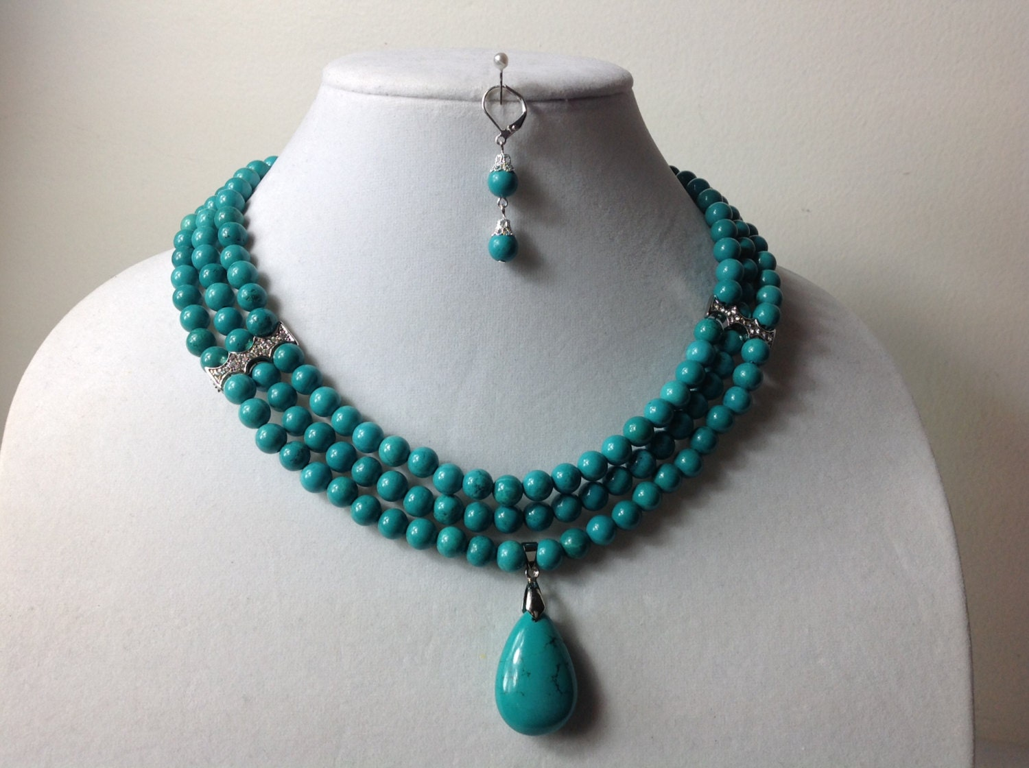 Elegant turquoise gem stone bead necklace set nigerian for Unique stones for jewelry making