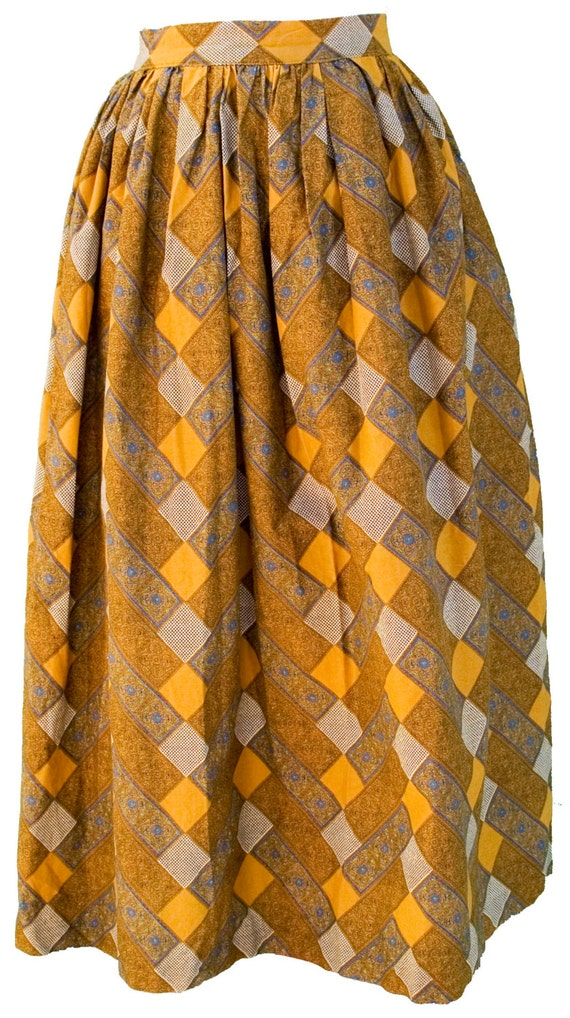 des ann es 1950 petite jupe pliss e houndstooth jaune moutarde. Black Bedroom Furniture Sets. Home Design Ideas