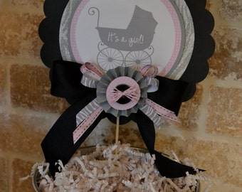 Baby Shower center piece, pink and black center piece