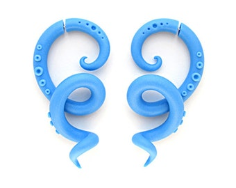 Blue Fake Gauge Earrings, Octopus Gauge, Ear Plugs, Tentacle Gauge, Fake Plugs, 6g 5g 4g 3g 2g 1g 0g 00g 000g 716 0000g 12 916 58 1116 34