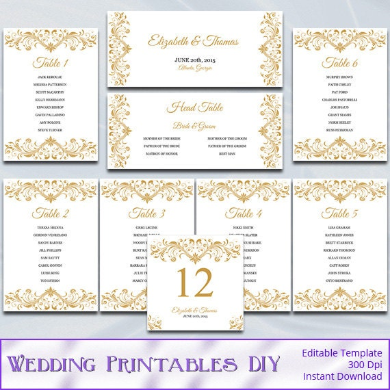 Printable Seating Chart For Wedding Reception: Gold Wedding Seating Chart Template Diy Elegant Reception